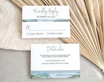 Beach Wedding Details and Reply Card Template, Ocean Invite, Information Card, RSVP,  Wedding Editable Printable PPW18 HAMPTON