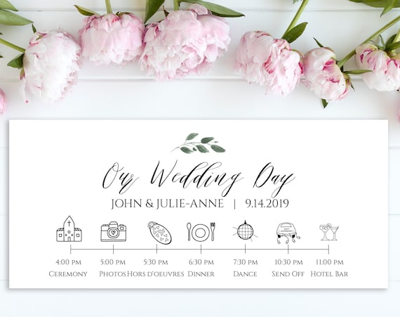 Wedding Timeline Card, Wedding Icon Timeline, Itinerary, Agenda, Schedule 100% Editable,  Templett PPW0450
