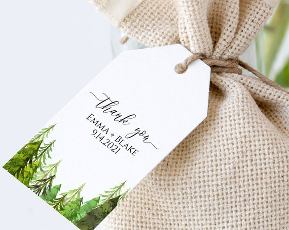 Pine Tree Thank You Tag, Wedding Favor Tag, Favor Thank You Tags Editable Template, Corjl LINDEN PPW410