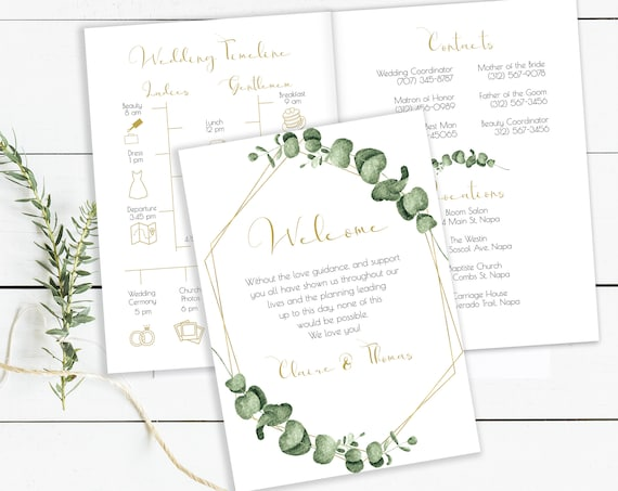 Gold Frame Greenery Wedding Party Pamphlet with Details & Timeline, Bridesmaid Itinerary, Groomsmen Agenda 100% Editable, Templett PPW0445