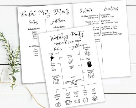 Wedding Party Timeline and Details Schedule, Printable Groomsmen & Bridesmaid Agenda, Folding Itinerary 100% Editable PPW0550 Grace