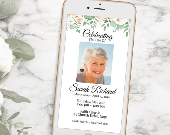 Electronic Memorial Invitation, Celebration of Life Template, Digital Funeral Invite, Blush Peach Floral, Email, Text Message PPF700