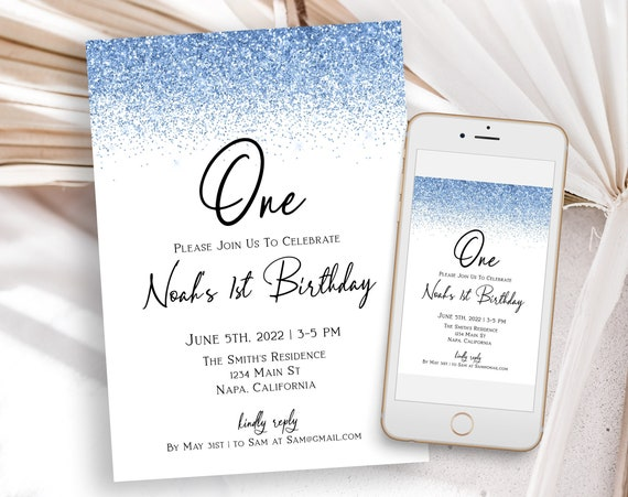 Blue Glitter First Party Invite, Turning One Invitation, Baby Blue Glitter, Editable Template, Corjl PPW90 PPW92