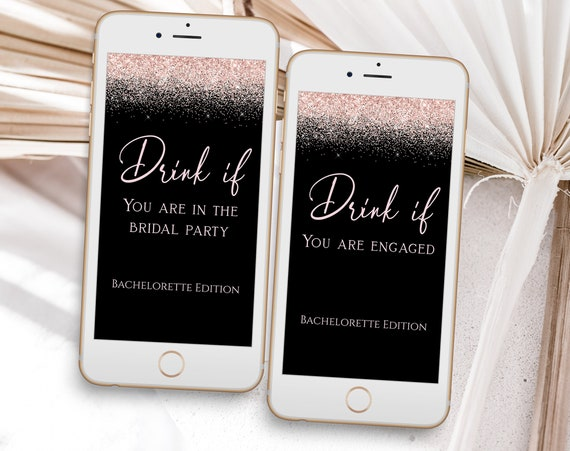 Pink Glitter Bachelorette Party Drink If Mobile Template, Bach Weekend Activity, Drinking Game, Pink and Black Bridal Activity PPW92 PPW90