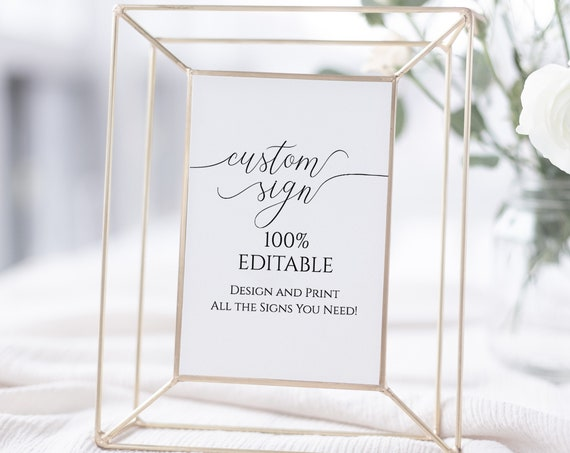 Custom Sign, Editable Wedding Sign, Bridal or Baby Shower Template, Personalized Sign Instant Download 100% Editable, Templett  PPW0560
