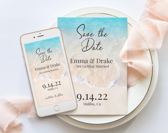 Ocean Beach Theme Save the Date Template, Tropical Wedding Announcement, Ocean Wave, Blush, Blue Printable 100% Editable PPW20 BREE