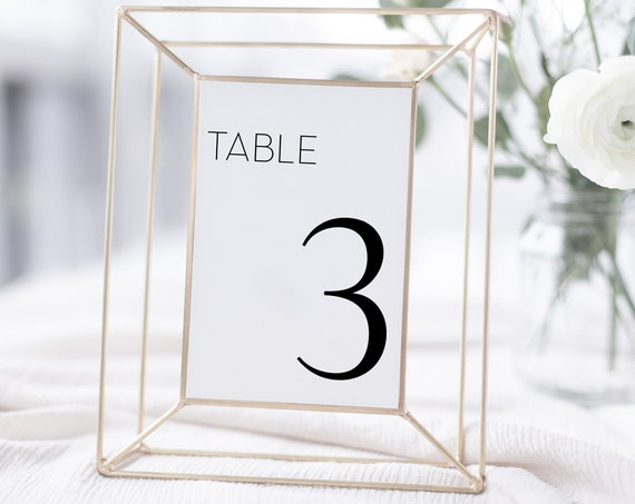 Wedding & Event Table Numbers,  Elegant Simple Design, Table Decor Display, 100% Editable Template, Templett PPW0500