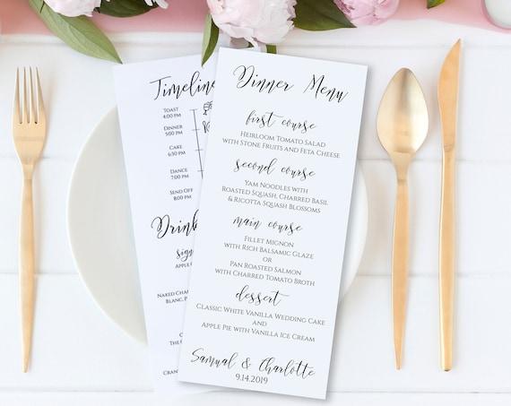 Modern Wedding Menu & Order of Events Template, Reception Timeline, Drink Menu Card, Wedding Icon Printable, 100% Editable, Templett PPW0550