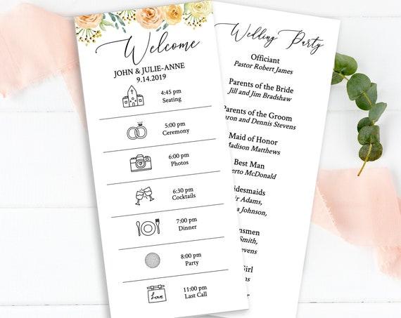 Wedding Program & Order of Events, Wedding Day Schedule, Timeline, Program, 100% Editable Templett  PPW0225
