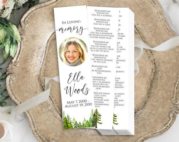 Bookmark, Memorial Card, Pine Tree Forrest Celebration of Life, Funeral Poem Bookmark, Editable Corjl Template PPF410 LINDEN