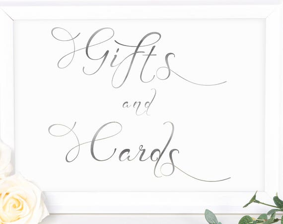 Silver Wedding Gifts and Cards Sign ~ Table Sign ~ Wedding Sign ~ Reception Sign ~ Landscape Sign ~ Template ~ Instant Download PDF ~ 110S