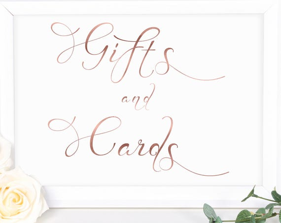 Rose Gold Wedding Gifts and Cards Sign ~ Table Sign ~ Wedding Sign ~ Landscape Sign ~ Template ~ Instant Download PDF ~ 110RG