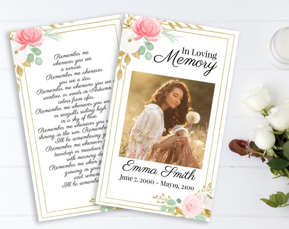 Pink Floral Memorial Prayer Card, Celebration of Life, Gold & Greenery Funeral Poem Card, Editable Corjl Template PPF260
