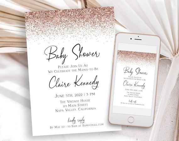 Glitter Baby Shower Invite, Shower Invitation, Pink, Glitter, Rose Gold Glam, Editable Template, Corjl PPW90 PPW92