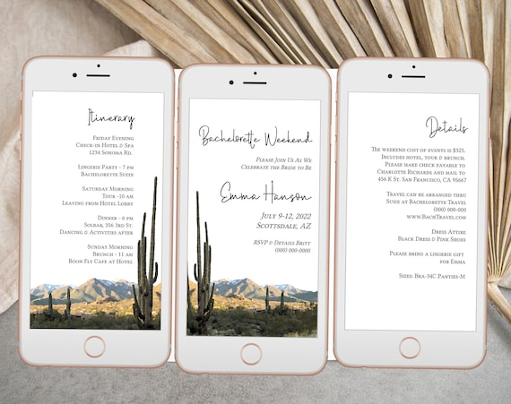 Desert Electronic Invitation Set Template, Evite, Hen Party, Cactus Bridal Shower, Itinerary, Details, Schedule, Wedding Events PPW36 MESA