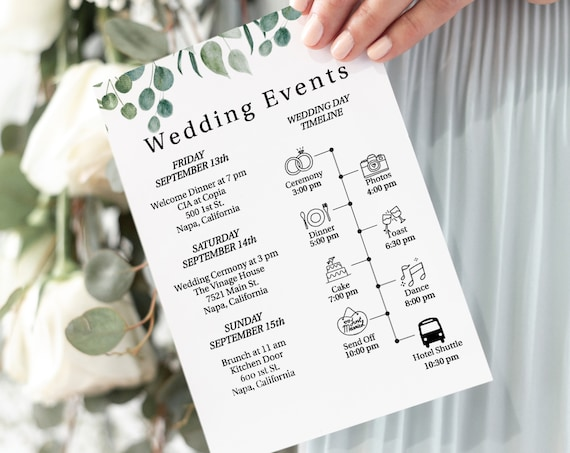 Wedding Greenery  Weekend Events and Things To Do, Printable Out of Town Timeline, Welcome Bag 100% Editable, Templett PPW0440