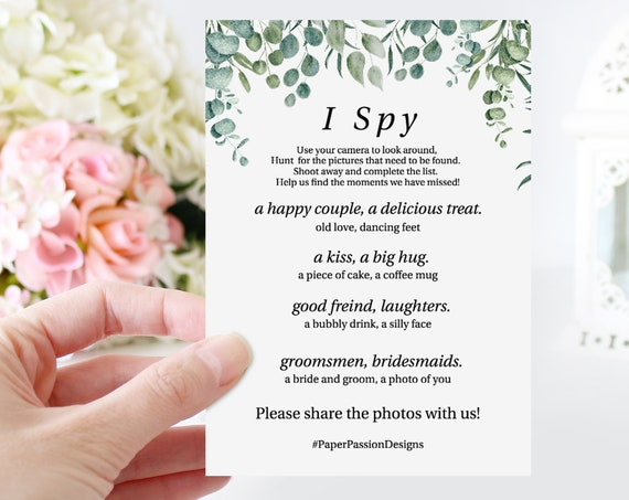 Greenery Wedding I Spy Game Template, Reception Activity Printable 100% Editable, Templett PPW0440