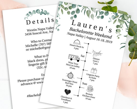 Greenery Wedding Bachelorette Weekend Details & Timeline Template, Bridal Party Printable 100% Editable, Templett PPW0440