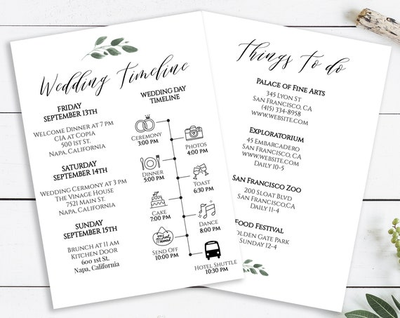 Wedding Timeline and Things To Do Card, Wedding Weekend Timeline, Itinerary, Agenda, 100% Editable,  Templett PPW0450