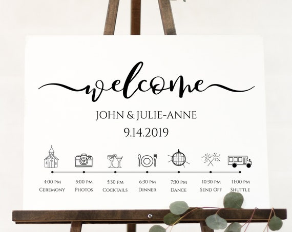 Welcome Timeline Sign, Wedding Day Event Display, Personalized Instant Download 100% Editable, Templett PPW0575
