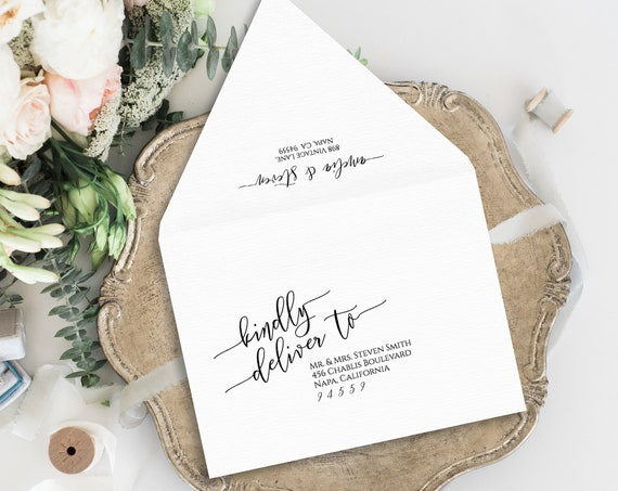 Envelope Address Template, Printable Wedding Envelope Template, Modern Calligraphy 100% Editable, Square Envelopes, Templett PPW0550