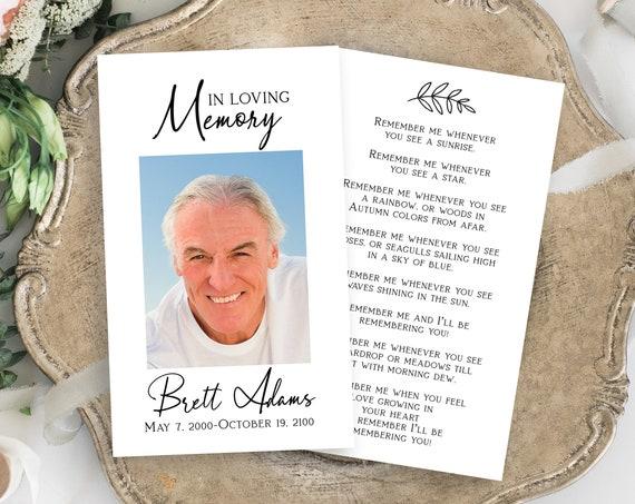 Memorial Prayer Card, Celebration of Life, In Loving Memory Funeral Card, Editable Corjl Template PPF575