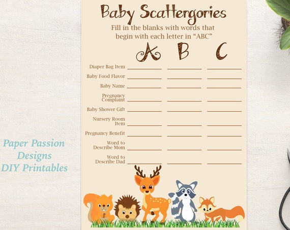 Scattergories Baby Shower ~ Woodland Animal Baby Shower Game ~ Gender Neutral Theme ~ Printable Game 0046