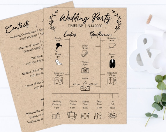 Rustic Wedding Party Timeline, Printable Wedding Day Schedule, Groomsmen Itinerary, Bridesmaid Agenda 100% Editable, Templett PPW0330