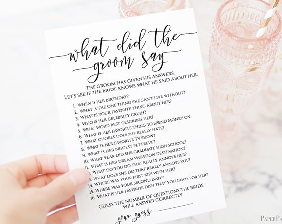 What Did The Groom Say Template, Bridal Game Activity, Rustic Modern Elegant Design 100% Editable, Templett PPW0550