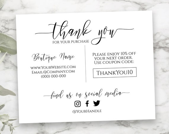 Personalized Business Thank You Note, Elegant Editable Thank You Card, Packaging Insert, Printable Customer Note SM-TY-2 PPB550 GRACE