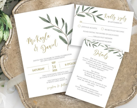 Wedding Invitation Suite, Invite, RSVP, Details Card, Gold and Greenery, Editable Corjl Template PPW800