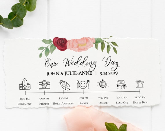 Wedding Day Timeline, Floral Design, Pink Red Flower, Instant Download 100% Editable, Templett PPW0230