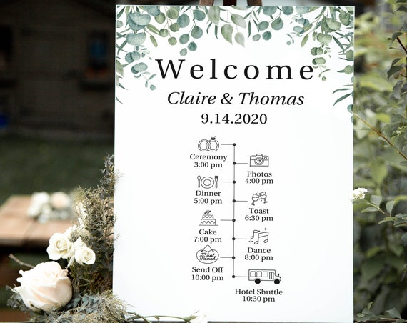 Greenery Wedding Timeline Welcome  Sign, Wedding Schedule Printable Template, 100% Editable, Templett PPW0440