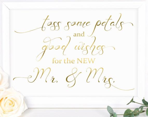 Wedding Send Off Sign ~ Gold ~ Toss Rose Petals Sign ~ Gold Wedding Sign ~ Reception Sign ~ Instant Download PDF ~ 110G