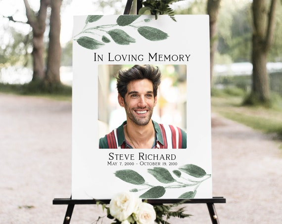 Greenery Memorial Sign, Celebration of Life, In Loving Memory Funeral Welcome Sign, Editable Corjl Template PPF450