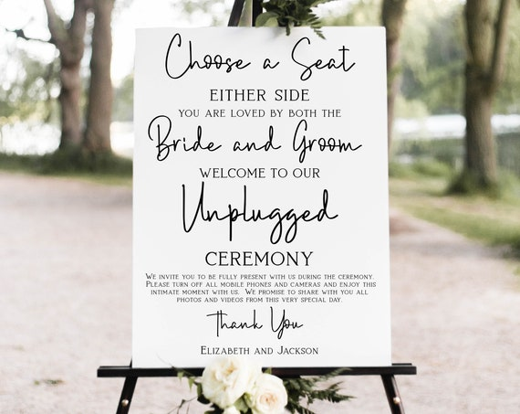 Choose a Seat Unplugged Wedding Ceremony Sign, No Pictures, No Photos Please, Wedding Welcome Sign Template 100% Editable Corjl PPW508