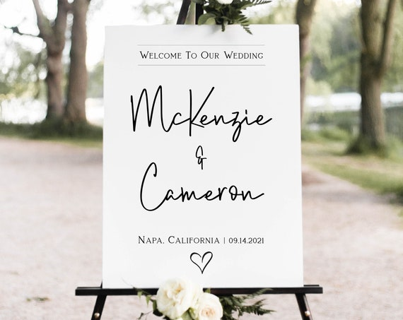 Wedding Welcome Sign, Wedding Sign, Ceremony Display, Easel Sign, Template 100% Editable Corjl PPW508