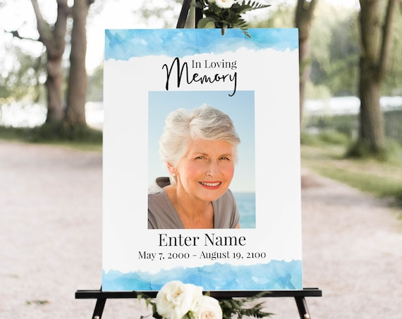 Memorial Sign, Blue Water Welcome Display Color Celebration of Life, Funeral Picture Sign, Editable Corjl Template PPF600B