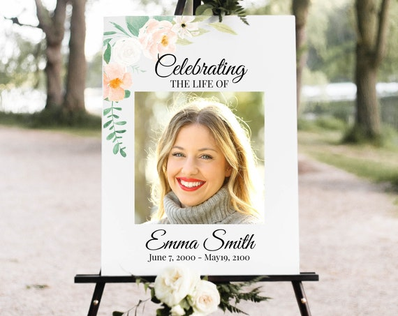 Memorial Sign, Celebration of Life, Celebrating the Life of Photo Sign, Blush Peach Floral, Editable Corjl Template PPF700