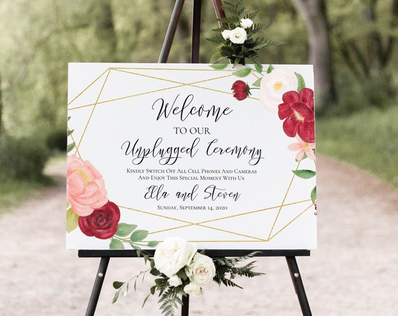 Welcome Unplugged Ceremony Sign Template, Wedding Floral Display, Pink & Red Flower, No Phones, No Cameras, 100% Editable, Templett PPW0230
