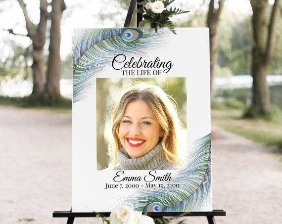 Peacock Feather Memorial Sign, Celebration of Life Welcome Picture, Funeral Collage of Pictures, Easel Display Sign, Editable Corjl PPF4