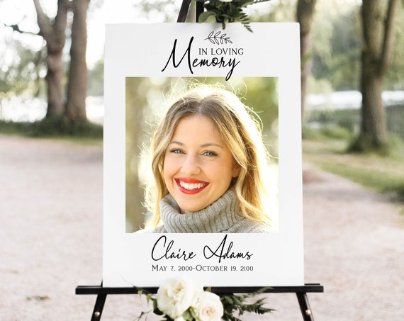 Memorial Sign, Celebration of Life, In Loving Memory Photo Collage, Welcome Sign, Editable Corjl Template PPF575
