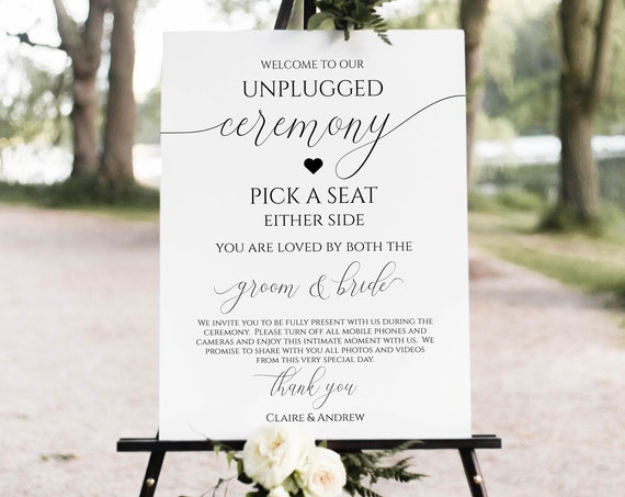 Unplugged Pick a Seat Wedding Ceremony Sign, Printable Easel Display Template, No Phones, No Cameras, 100% Editable, Templett  PPW0560