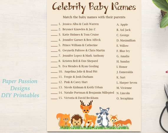 Celebrity Baby Names Game ~ Woodland Animal Baby Shower Game ~ Gender Neutral Theme ~ Printable Game 0046