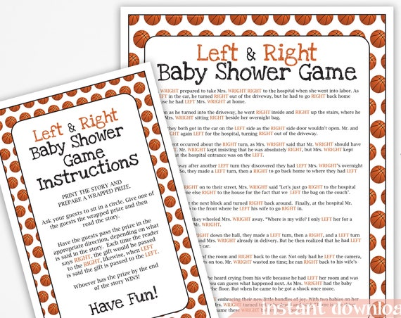 Basketball Theme Baby Shower, Left and Right Game, Sport Theme Baby Boy Printable Template  60Basketball