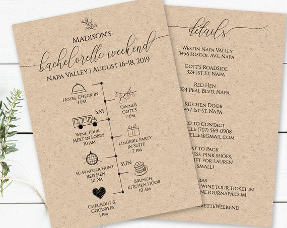 Bachelorette Weekend Timeline and Details, Printable Bridal Shower Schedule, Agenda, 100% Editable, Templett  PPW0560