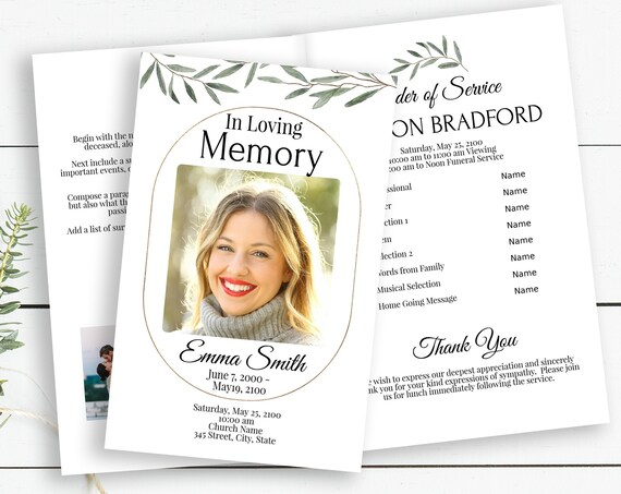 Greenery Memorial Program, Celebration of Life, In Loving Memory Program Pamphlet, Editable Corjl Template CL800