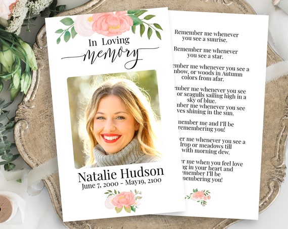 Memorial Prayer Card Template, Flowers Celebration of Life, Pink Floral Funeral Card, Editable Corjl Template CL230