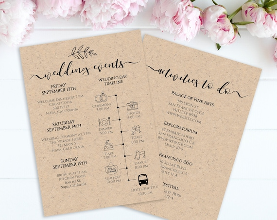 Wedding Timeline and Activities List, Wedding Welcome Bag Card, Personalized Instant Download 100% Editable, Templett PPW0575