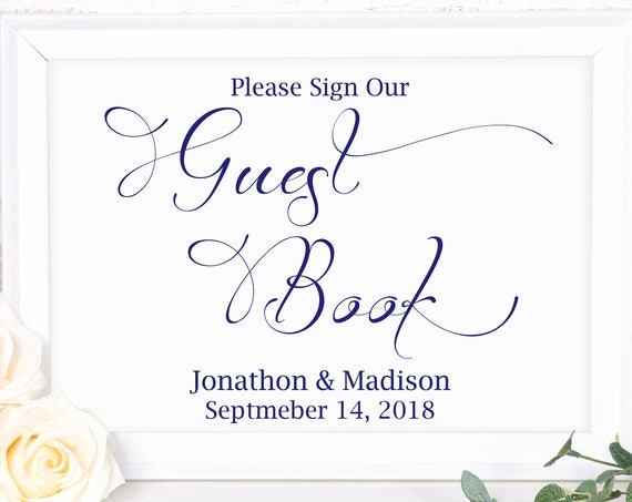 Navy Wedding Guest Book Sign ~ Please Sign ~ Wedding Sign ~ Reception Sign ~ Landscape Sign ~ Editable Template ~ Instant Download ~ 110N